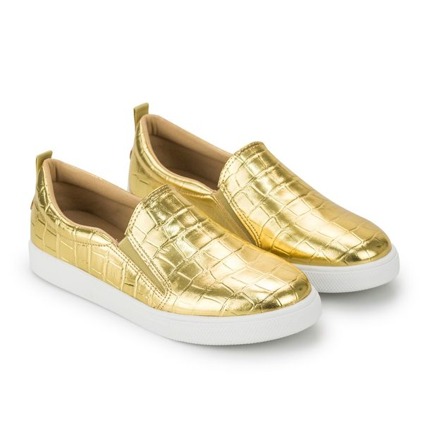 Tenis-Slipper-Croco-Ouro