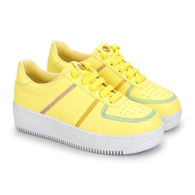 Tenis-Mix-Napa-Pele-Yellow-Mint-Laranja-Azaleia