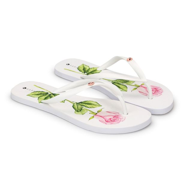 Rasteira-Branca-Estampa-Flor-Rosa