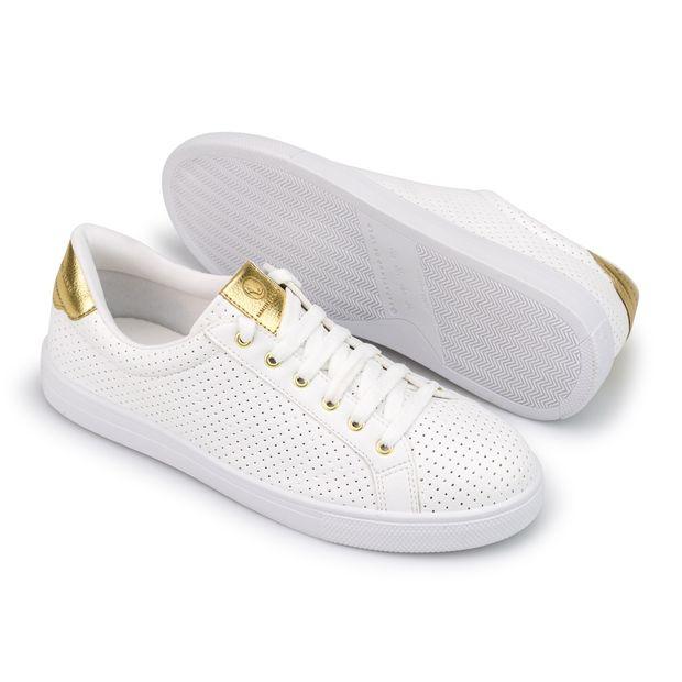 Tenis-Napa-Pele-Branco-Mini-Perfuros-Detalhe-Ouro