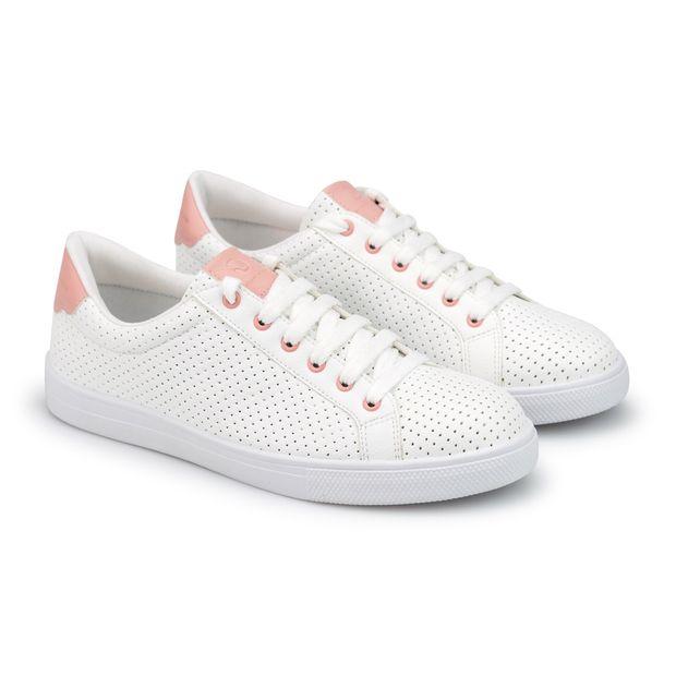 Tenis-Napa-Pele-Branco-Mini-Perfuros-Detalhe-Pink