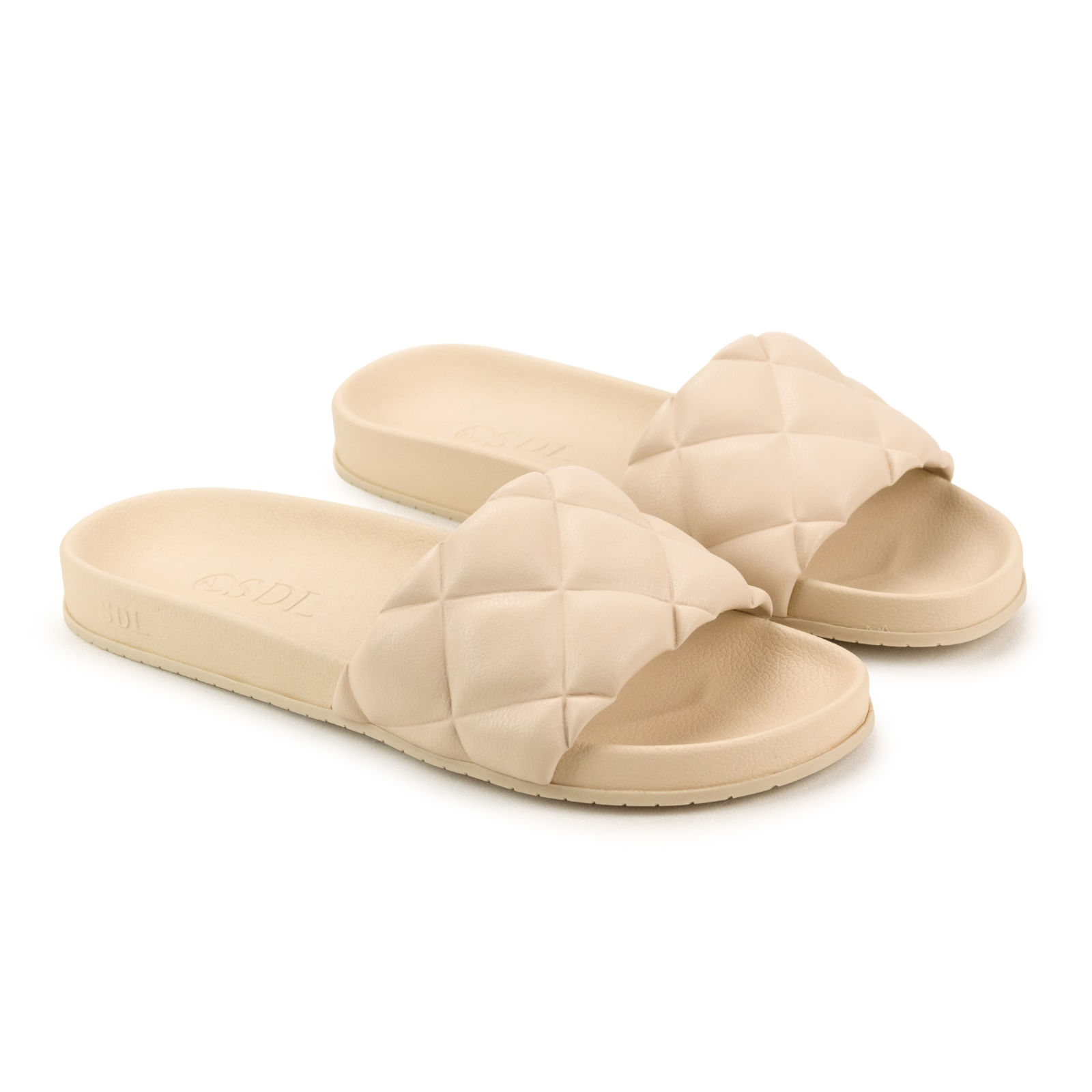 Rasteira Napa Soft Nude Manteiga Matelassê